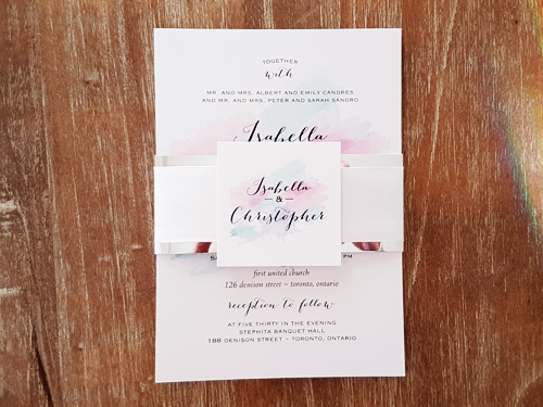 Wedding Invitation 2061: Ice Pearl, White Smooth, White Ribbon