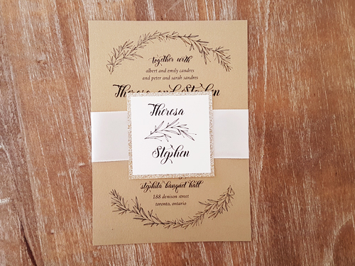 Wedding Invitation 2062: Gold Pearl, Gold Glitter, Antique Ribbon