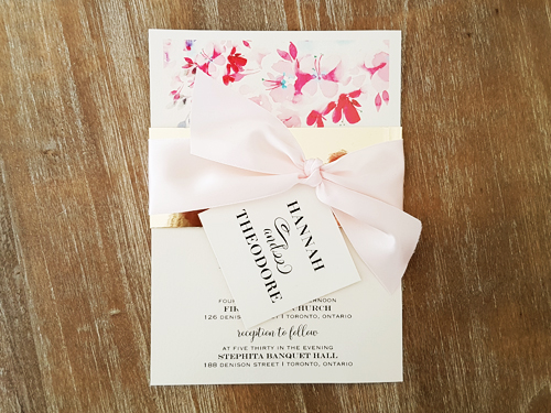 Wedding Invitation 2063: White Gold, Cream Smooth, Petal Pink Ribbon