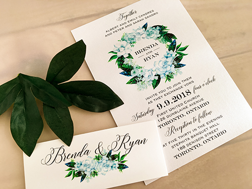 Wedding Invitation 2071: Ice Pearl, White Smooth