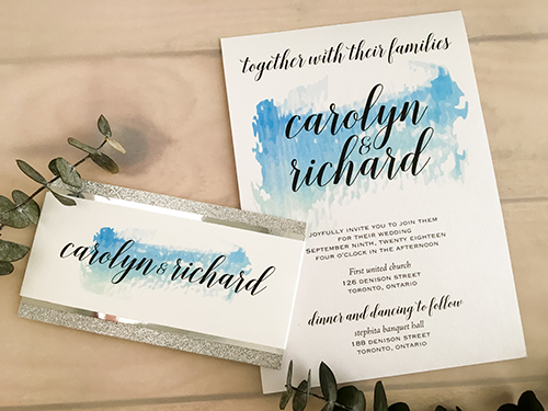 Wedding Invitation 2072: Ice Pearl, White Smooth