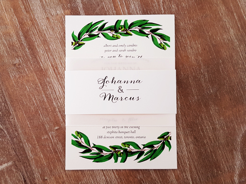 Wedding Invitation 2073: White Gold, Cream Smooth, Antique Ribbon, Antique Ribbon