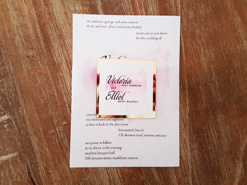 Wedding Invitation 2074: Ice Pearl, Gold Mirror, White Smooth