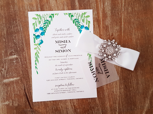 Wedding Invitation 2076: Ice Pearl, Vellum, White Ribbon, Brooch/Buckle A11
