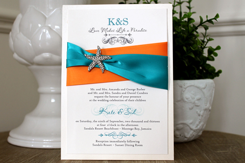 Wedding Invitation Destination10: Ivory Pearl, Cream Smooth, Passions, High Tower, Orange Ribbon, Peacock Ribbon, Brooch/Buckle A10