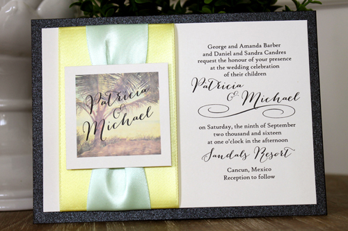 Wedding Invitation Destination6: Black Pearl, Cream Smooth, Canary Ribbon, Canary Ribbon, Icy Mint Ribbon
