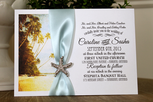 Wedding Invitation Destination7: White Smooth, Light Blue Ribbon, Brooch/Buckle A10