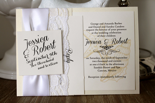 Wedding Invitation Destination8: White Gold, Cream Smooth, Coneria Script, High Tower, White Ribbon, White Lace