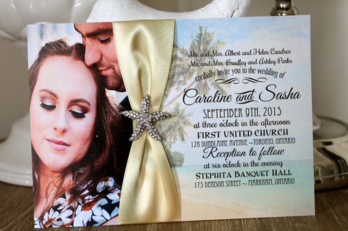Wedding Invitation Destination9: Cream Smooth, Buttermilk Ribbon, Brooch/Buckle A10