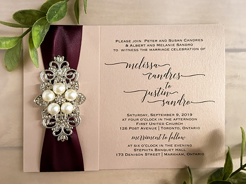 Wedding Invitation 2101: Blush Pearl, Brooch/Buckle T, Metal Filigree F4 - Silver