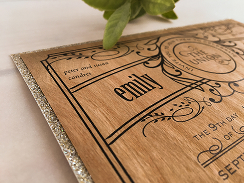 Wedding Invitation 2119: Wood, Champagne Glitter