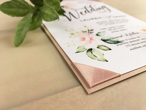 Wedding Invitation 2126: Blush Pearl, White Smooth, Deep Blush Ribbon