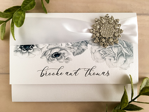 Wedding Invitation 2140: Ice Pearl, White Ribbon, Brooch/Buckle A11