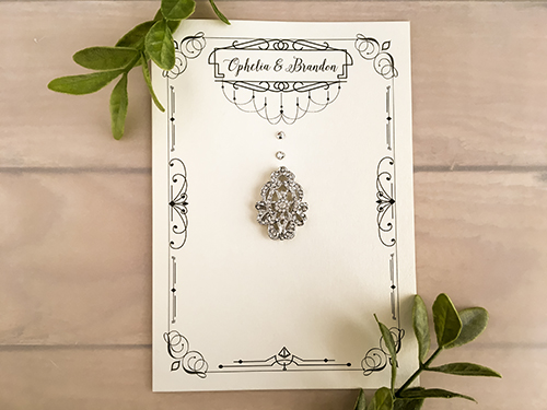 Wedding Invitation 2145: White Gold, Brooch/Buckle A17