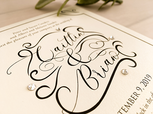 Wedding Invitation 2149: White Gold, Brooch/Buckle Rhinestone