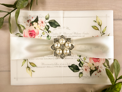 Wedding Invitation 2161: White Gold, Antique Ribbon, Brooch/Buckle T
