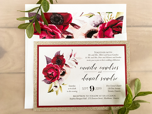 Wedding Invitation 2165: Ice Pearl, Red Lacquer