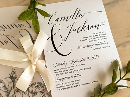 Wedding Invitation 2169: Ice Pearl, Antique Ribbon