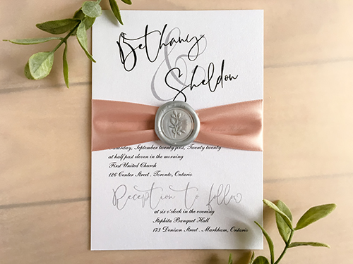 Wedding Invitation 2201: Ice Pearl, Deep Blush Ribbon