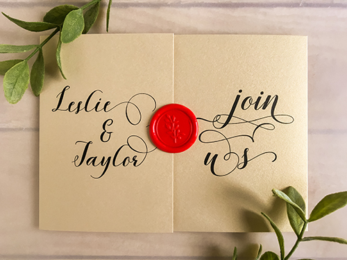 Wedding Invitation 2202: Champagne Gold