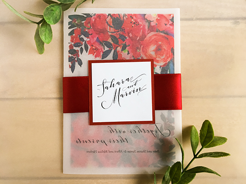 Wedding Invitation 2204: Red Lacquer, White Smooth, Sherry Ribbon