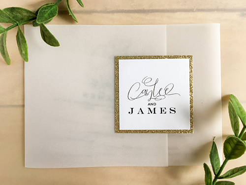 Wedding Invitation 2210: Champagne Glitter, White Smooth