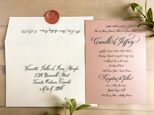 Wedding Invitation 2214: Rose Gold Pearl