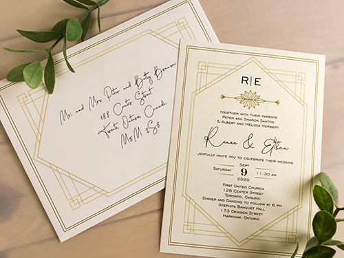 Wedding Invitation 2222: White Gold