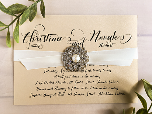 Wedding Invitation 2234: Champagne Gold, Antique Ribbon, Brooch/Buckle A6