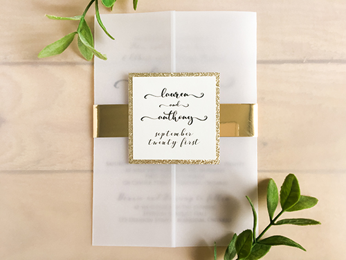 Wedding Invitation 2236: Champagne Glitter, Cream Smooth