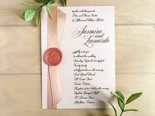 Wedding Invitation 2237: Light Pink Pearl, Deep Blush Ribbon
