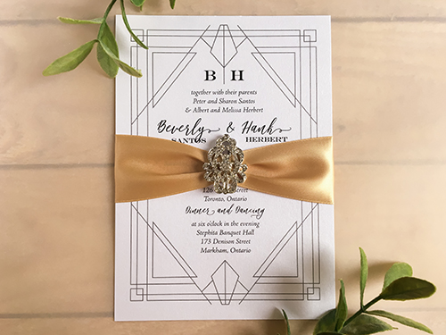 Wedding Invitation 2243: Ice Pearl, Champagne Ribbon, Brooch/Buckle A17