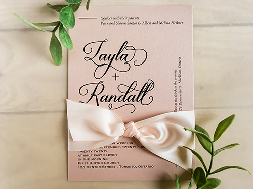 Wedding Invitation 2247: Rose Gold Pearl, Petal Pink Ribbon
