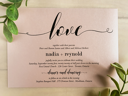 Wedding Invitation 2255: Rose Gold Pearl