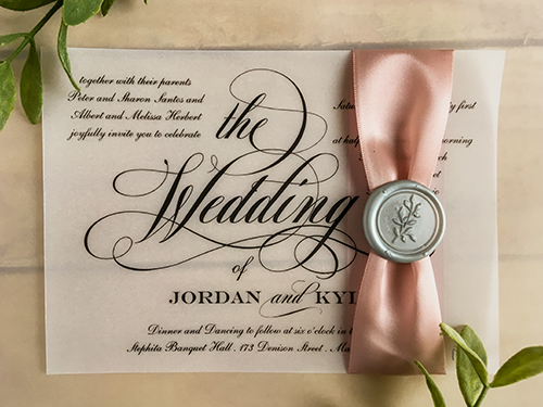 Wedding Invitation 2257: Dusty Rose Ribbon