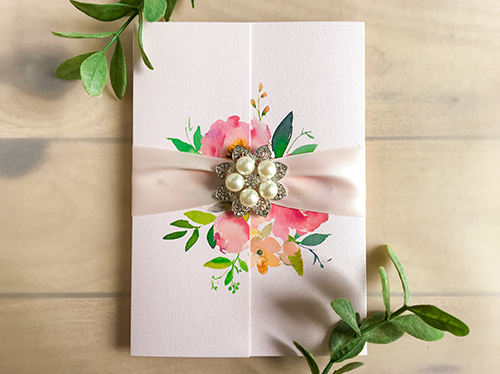 Wedding Invitation 2262: Light Blue Pearl, Petal Pink Ribbon, Brooch/Buckle T