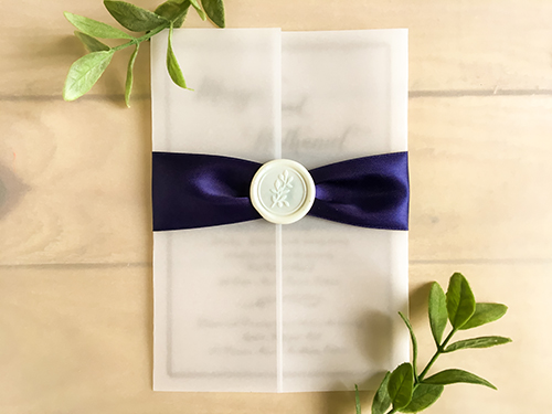 Wedding Invitation 2266: Navy Ribbon