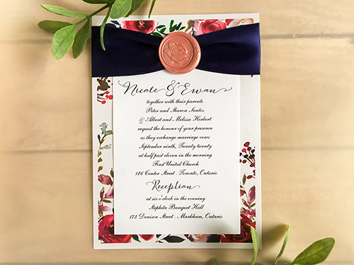Wedding Invitation 2272: Ice Pearl, Navy Ribbon