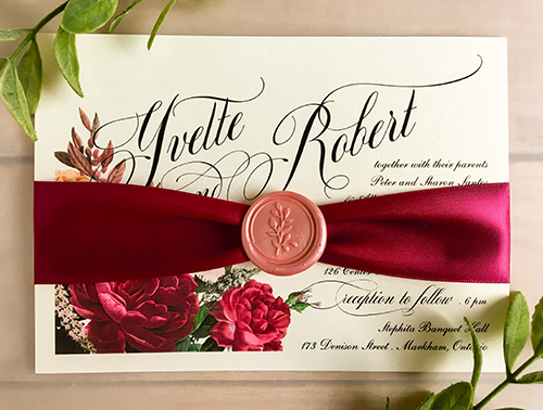 Wedding Invitation 2273: White Gold, Wine Ribbon