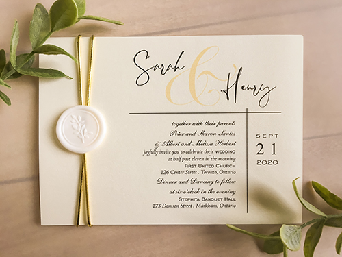 Wedding Invitation 2276: White Gold