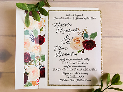 Wedding Invitation 2285: Iridescent Pearl, Champagne Glitter