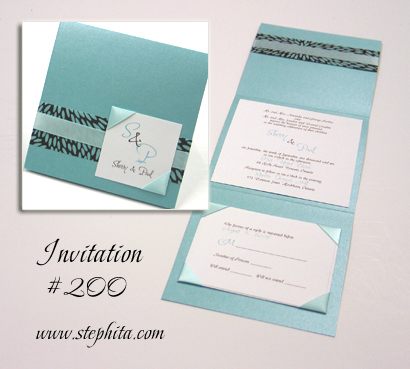 Invitation 200: Tiffany Pearl, Retro Brown & Aqua, White Smooth, Aqua Ribbon