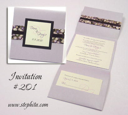 Invitation 201: Mango Pearl, Black Linen, Black & Purple Big Blossom, Cream Smooth, Eggplant Ribbon