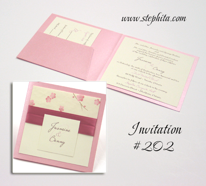 Invitation 202: Pink Pearl, New Pink Single Blossom, Cream Smooth, Dusty Rose Ribbon