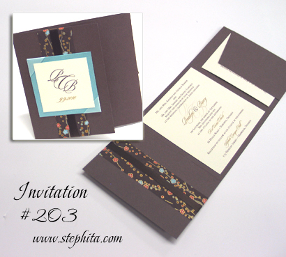Invitation 203: Umber Brown, Tiffany Pearl, Brown Cherry Blossom, Cream Smooth, Brown Ribbon, Aqua Ribbon