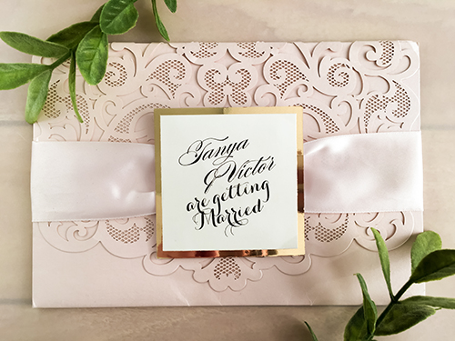 Wedding Invitation lc101: Gold Mirror, Cream Smooth, Petal Pink Ribbon