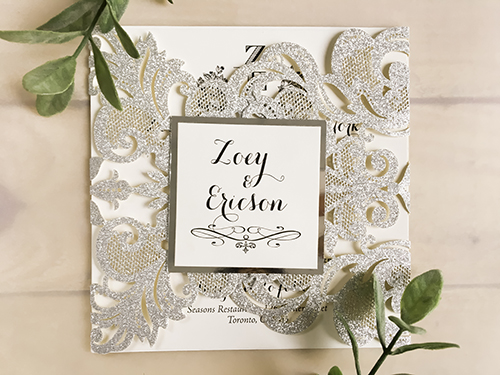Wedding Invitation lc103: Silver Mirror, Cream Smooth