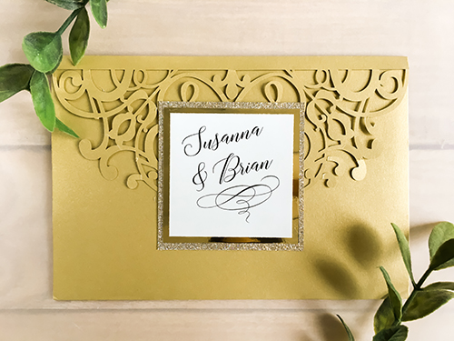 Wedding Invitation lc104: Gold Mirror, Cream Smooth