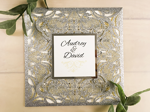 Wedding Invitation lc105: Silver Mirror