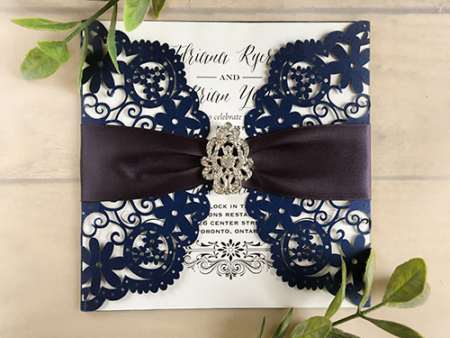 Wedding Invitation lc10: Navy Ribbon, Brooch/Buckle A17